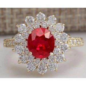 12 ct red ruby with diamonds Wedding ring 14K Yell